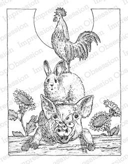 Impression Obsession Animal Stack - Cling Rubber Stamp