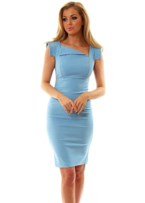 Goddess London Dress | Baby Blue Pencil Dress For Day Or Night