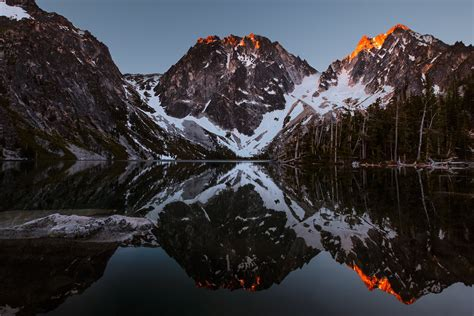 First light on Dragon Tail Peak and Colchuck Peak