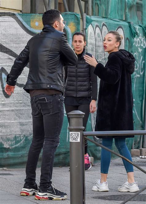 Ester Exposito in a White Sneakers Was Seen Out with Her